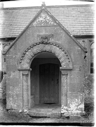 Porch, St Andrews Old Church, Holcombe, near Stratton on the Fosse, Somerset, c.1930s