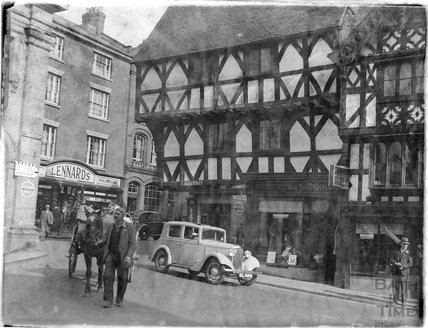 Half timbered buildings in Broad Street, Ludlow, Shropshire, late 1930s