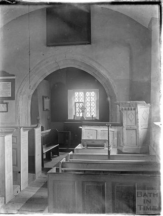Inside St Andrews Old Church, Holcombe, near Stratton on the Fosse, Somerset, c.1930s