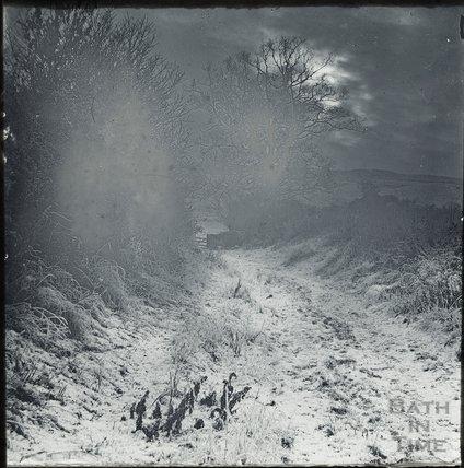 Snowy lane, possibly in Bathampton, c.1900