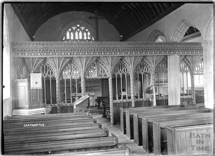 Screen inside church of St John the Baptist, Carhampton near Minehead, c.1930s