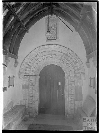 Norman doorway, All Hallows Church, South Cerney, Gloucestershire, c.1930s