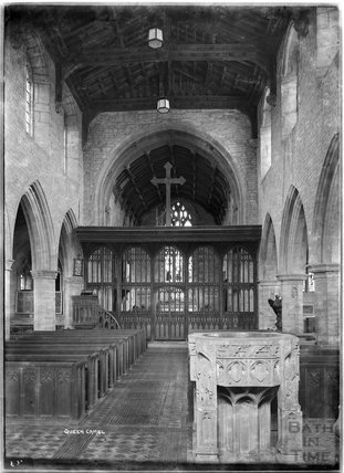 Inside St Barnabus church, Queen Camel, near Yeovil, Somerset, c.1930s