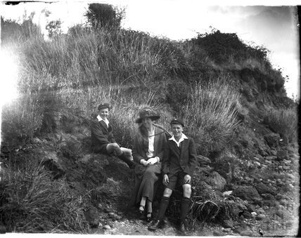 The photographer's wife and twin boys, near Weymouth, Dorset, 1924