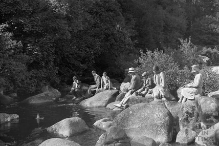 By the river, Dartmoor, Devon c.1930 - detail