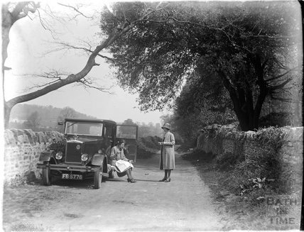 Roadside picnic, probably near Wells, Somerset, c.1924