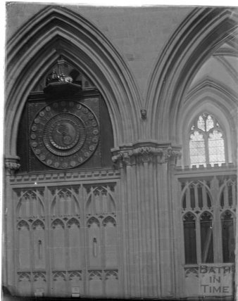 Clock in North Transept, Wells Cathedral, c.1930s