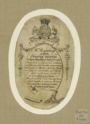 Trade Card for Mr Rosenberg of Bath, Profile Painter, 1793
