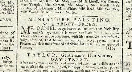 Miniature Painting, No 3 Abbey Green 1787
