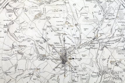 An Improved Map of the Villages, Roads, Farm Houses etc Five Miles round the City of Bath 1787 - detail