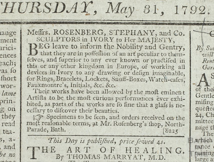 Messrs Rosenberg, Stephany and CO, sculptors in ivory, 1782