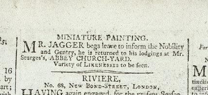Mr Jagger Miniature Paintings, 1807