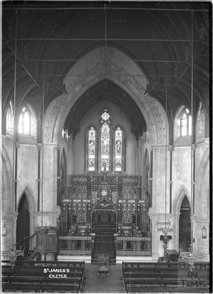 Inside Church of St James, Exeter, Devon c.1930s