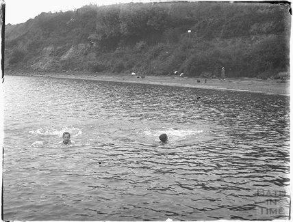Swimming in the sea, Weymouth, Dorset 1925