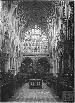 Inside Exeter Cathedral, Devon, 1905