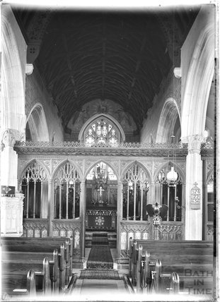 Inside Alphington church in Devon, c.1930s