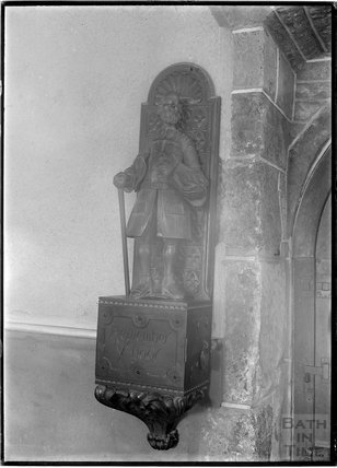 Statue, probably inside Pinhoe Church, near Exeter, Devon c.1930s