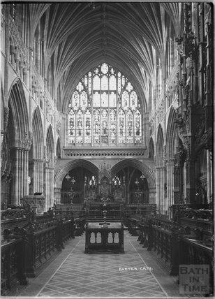 Inside Exeter Cathedral, Devon c.1905
