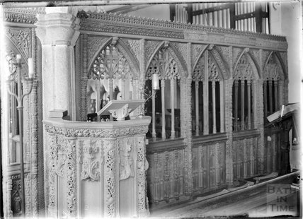 Pulpit inside St John the Baptist church, Lustleigh, Devon c.1905