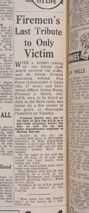 Funeral account for fireman L Smith, killed during the Bath Blitz, 1942