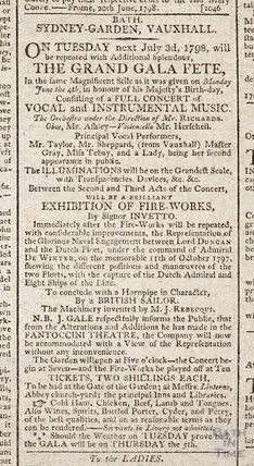 Sydney Gardens, Vauxhall Grand Gala Fete, 1798
