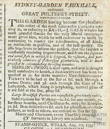 Mr Merlin's swing at Sydney Gardens, Vauxhall opposite Great Pulteney Street, 1795