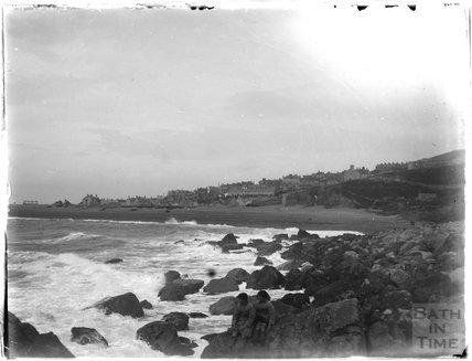 Sitting on the rocks, Weymouth, 1924
