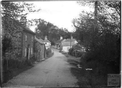 Street view of Upton, near Dulverton, Exmoor, 1934