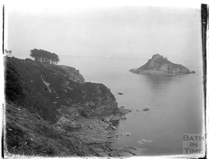 Thatcher Rock, viewed from the cliffs in Torbay, Paignton, Devon, late 1920s