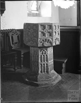 Font at the church of Saint Thomas of Canterbury, Cothelstone, Somerset c.1920s