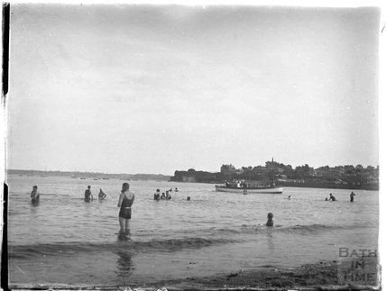 Bathing in the sea at Paignton, Devon, late 1920s