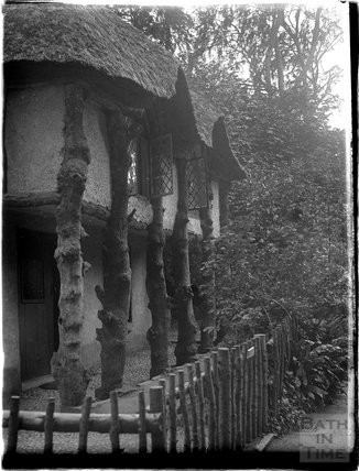 Rustic thatched porch in the Dartmouth / Torbay area, Devon, late 1920s