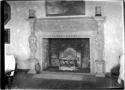 Fireplace, thought to be inside Upper Upham House, near Swindon, Wiltshire, c.1920s