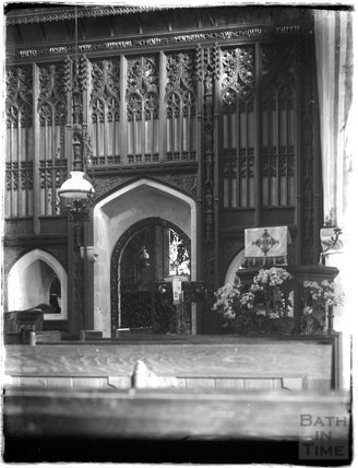 Screen inside Stockton church near Wylye, Wiltshire, c.1920s