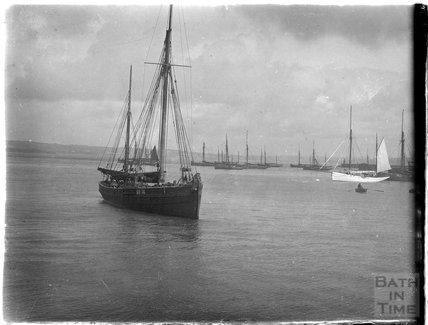 Sailing ship at Paignton, Devon, late 1920s