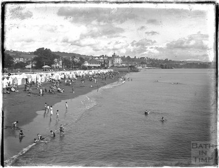 On the beach at Paignton, Devon, late 1920s