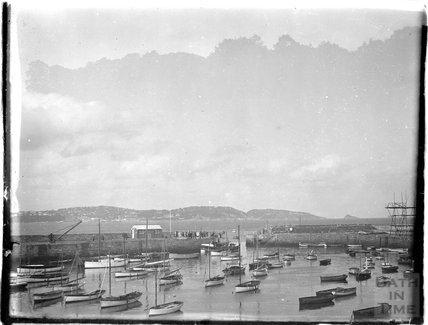 Sailing boats in the port, Dartmouth, Devon, 1929