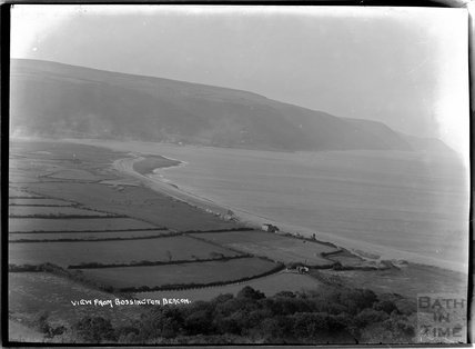 View from Bossington Beacon of Porlock Weir, near Minehead, Somerset, c.1920s