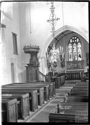 Inside the church of St James the Less, Iron Acton, Gloucestershire, c.1920s