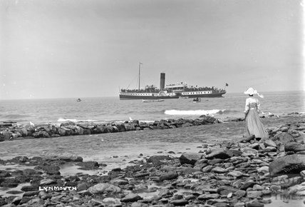 Watching a steamer at near Lynmouth, Devon c.1910 - detail