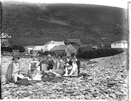Family group shot on a beach, somewhere in Devon, 1928