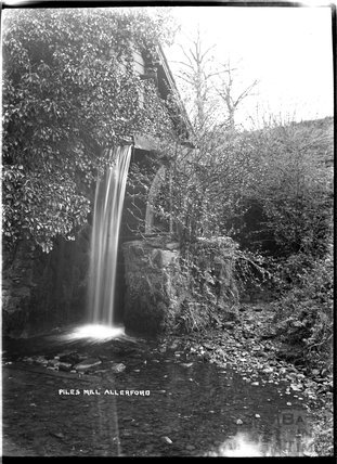 The waterfall at Piles Mill, Allerford near Minehead, Somerset c.1932