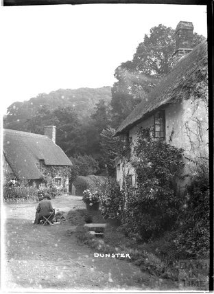 Cottages at the end of Park Street, Dunster, Somerset, c.1920s