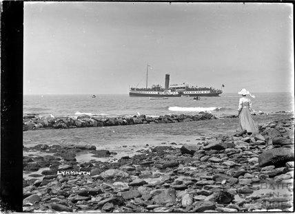 Watching a steamer at near Lynmouth, Exmoor, Devon c.1910s