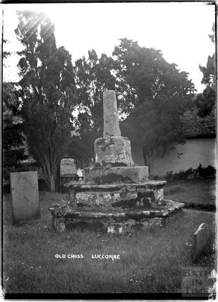 Old Cross in the graveyard of Church of St Mary, Luccombe near Minehead, Somerset,  c.1905 - 1915