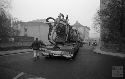 Core Pile borer departure from the Thermae Bath Spa site, 7am 19 February 2001