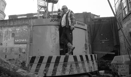 Crane driver at Thermae Bath Spa, 16 February 2001