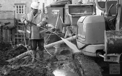 A construction worker at the Thermae Bath Spa construction site, 24 January 2001