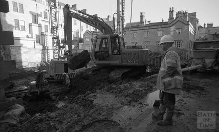 A digger onsite at Thermae Bath Spa, 24 January 2001