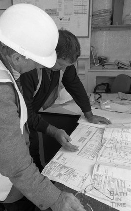 Examining the plans on the site of Thermae Bath Spa 2000